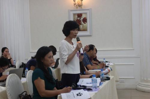 Bà Ngô Thị Lợi, Phó chủ tịch Hội phụ nữ Tỉnh Hà Nam trình bày về những kết quả mô hình thí điểm can thiệp cộng đồng