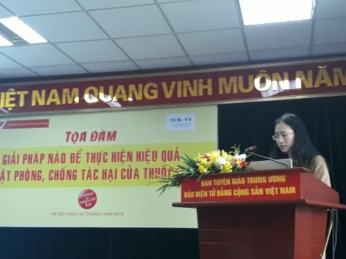 ThS. Lê Thị Thu, Quản lý Chương trình Phòng chống tác hại thuốc lá, Tổ chức HealthBridge Canada tại Việt Nam